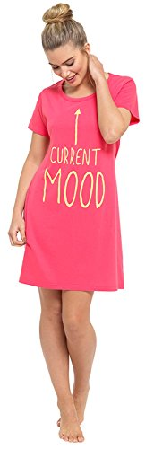 Ladies Cotton Short Sleeved Slogan Nightie Rosa
