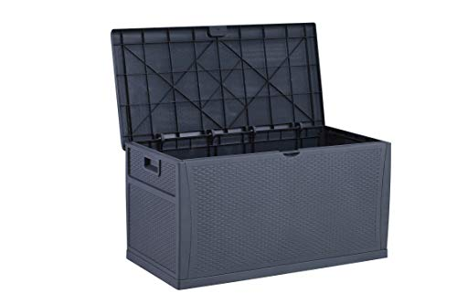 HYD-parts Gray Patio Deck Box, Outdoor Garden Storage Container Bench Box 120 Gallon
