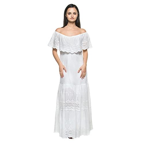 48cc7818509 best Women s White Eyelet Ruffle Off Shoulder Mexican Peasant Boho Long Maxi  Dress