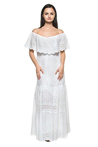 [Women's White Eyelet Ruffle Off Shoulder Mexican Peasant Boho Long Maxi Dress (Large)] (70s Maxi Dress)
