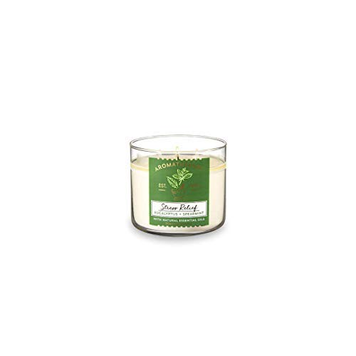 3 Bath Body Works - Bath & Body Works, Aromatherapy Stress Relief 3-Wick Candle, Eucalyptus Spearmint