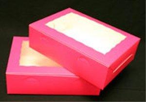Golda's Kitchen Cake Box - 10 × 14 × 4 - Window - Pink - 10 pack