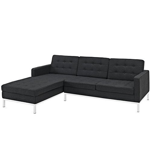 LexMod Florence Style Left-Arm Corner Sectional Wool Sofa, Dark Gray