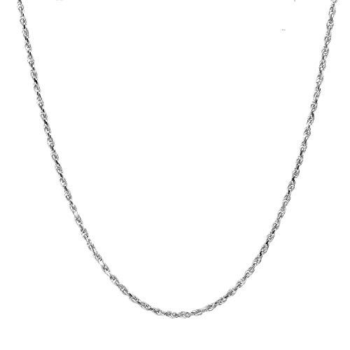 Pori Jewelers Platinum 950 Solid Diamond Cut Rope Chain Necklace -1.5mm Thick (20)