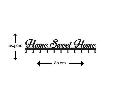 Perchero de pared Home sweet Home tamaño Extra grande 11 ganchos montado en la pared Negro w: 80 cm accesorios para el hogar por Sema Show diseño
