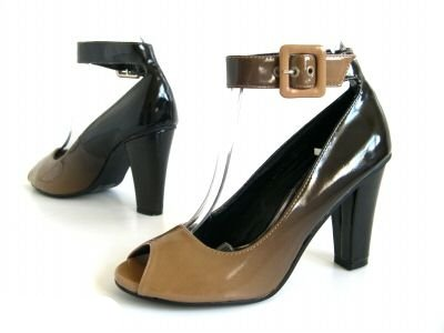 LD Outlet WOMENS TWO TONE ANKLE STRAP BUCKLE BLOCK HEEL PEEPTOE LADIES SHOES SIZE UK 3-8 Brown GeIUggjQ4L