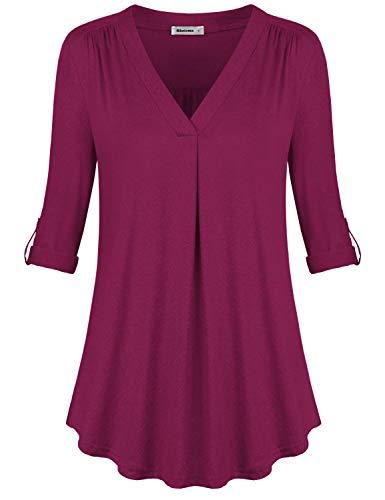 Rhoizma Womens Short Sleeve V Neck Button Down T Shirt Casual Basic Blouse Tops