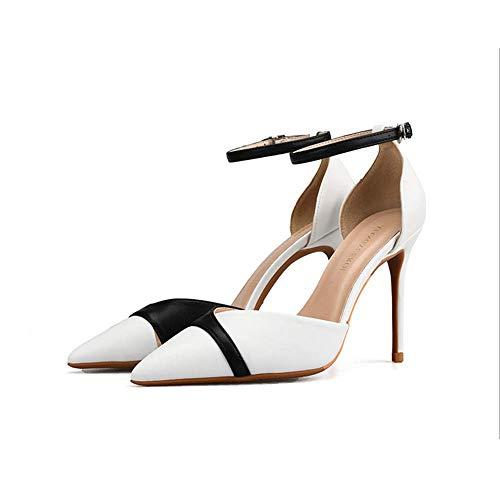 Simples De Couleur Mot Les Avec Mat Femmes White Chaussures Sandales Talon Hauts Stiletto Des white Femmes Talons Boucle 44 Pour Haut Assortie Pointu Oq8X5q