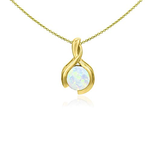 Sea of Ice Yellow Gold Flashed Sterling Silver 8mm Round Synthetic Opal Pendant Necklace for Woman, 18 Inch ()