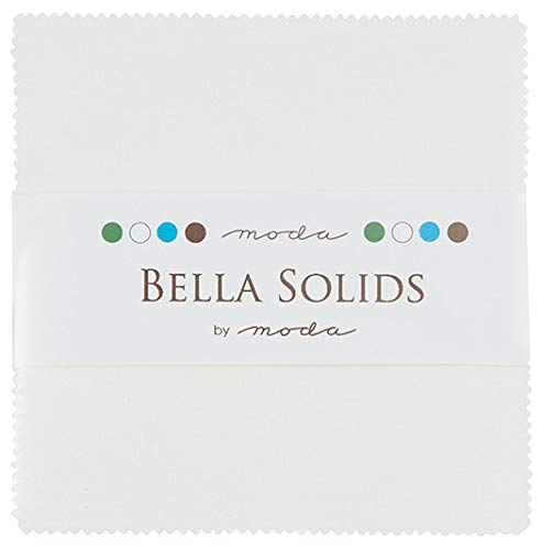 (Moda Bella Solids White Bleached 9900PP-98 Charm Pack, 42 5-inch Cotton Fabric Squares)