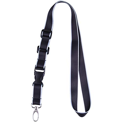 Office Lanyard, Wisdompro Adjustable Length, Polyester Neck Strap with Oval Clasp and Detachable Buckle for ID, Name Tag, Company Badge Holder, and Keys - Black and Powder Blue