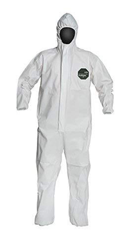 [6 PACK] DuPont ProShield 50 NG127S Disposable Protective Coverall with Elastic Cuff, Respirator Fit Hood and Storm Flap, White (Large)