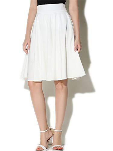 - PERSUN Women's Basic Flared High Waist Midi Skater Skirt,White,XL