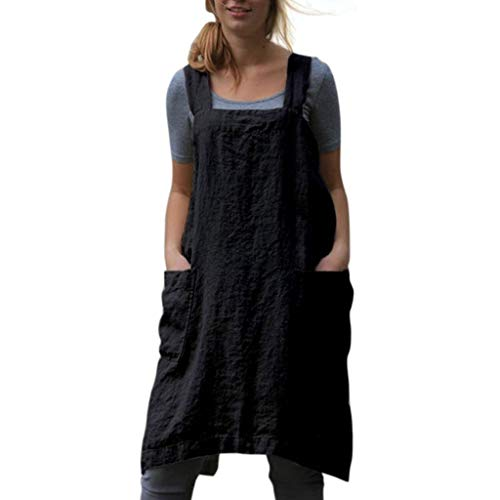 Lucy Super Women Plus Size Cotton Linen X Shape Dress Bib Apron Halter Cross Bandage Kitchen Cooking Clothes with Large Front Pocket - Halter Lucy
