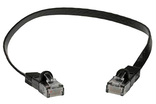0.5' Twist - SF Cable, 0.5 ft Premium Ultra Flat CAT6 Network Flat Patch Cable Black