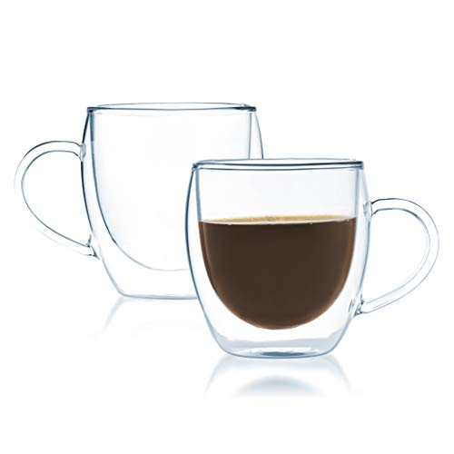 (JavaFly 2 Pack Insulated Thermo Bistro Cup Double Wall Glass Coffee Mugs Clear)