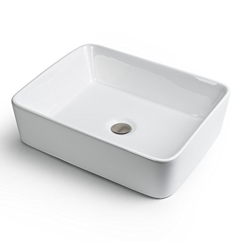 GotHobby Sink Brushed Nickel Popup Drain Combo Rectangle Ceramic