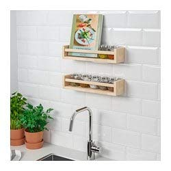 Ikea 4 Wooden Spice Rack Nursery Book Holder Kids Shelf Kitchen Bathroom Accessory Storage Organizer Birch Natural Wood Bekvam, Garden, Lawn, Maintenance