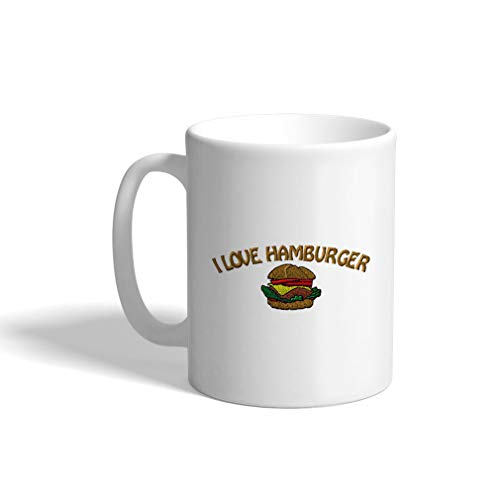 Ceramic Funny Coffee Mug Coffee Cup I Love Hamburger White Tea Cup 11 Ounces