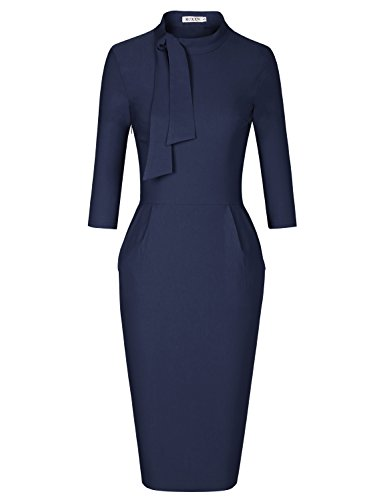 MUXXN Women's Vintage 60s High Neck Pockets Tunic Wear to Work Midi Dress (Blue L) -