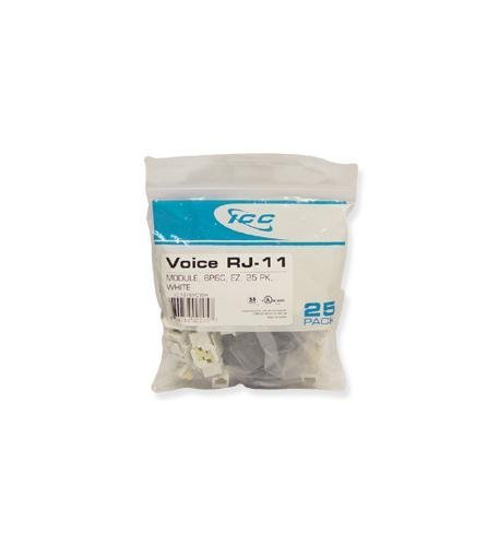 Icc - Ic1076vcwh - 25Pk Cat3 Jck 6Con. - White ''Product Category: Installation Equipment/Wall Jacks/Inserts''