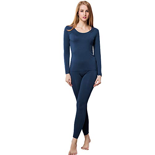 HEROBIKER Thermal Underwear Women Set Winer Skiing Warm Top Thermal Long Johns (L, Blue) (Thermal Shirt Polyester)