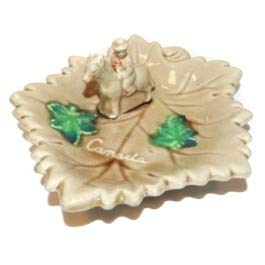 Vintage Made in Japan Canada Souvenir Art Pottery Ashtray w/Canadian Mountie