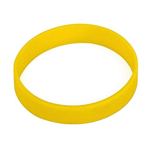100pcs/set Plain Silicone Wristbands Blank Rubber Bracelets for Adult Yellow
