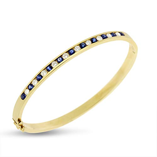 2.25 Ct. Natural Diamond & Sapphire Channel Set Bangle in Solid 14k Yellow Gold
