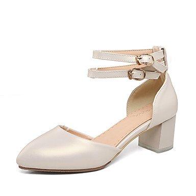 LvYuan Mujer-Tacón Robusto-D'Orsay y Dos Piezas-Sandalias-Boda Vestido Fiesta y Noche-Semicuero-Rosa Plata Beige beige