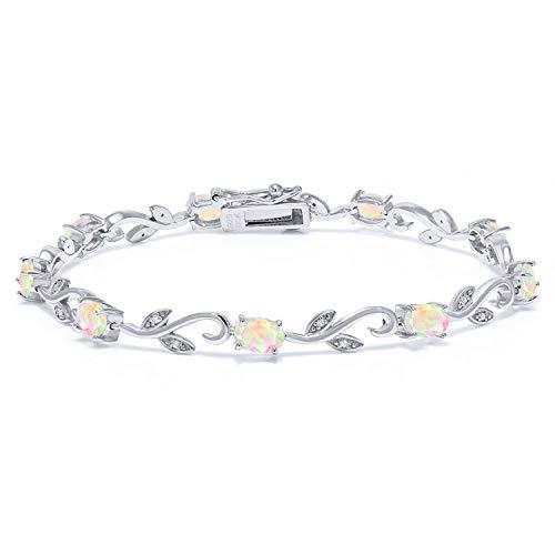Oval Opal Bracelets (925 Sterling Silver 2.83 Ct Oval White Ethiopian Opal Greek Vine 7 Inch Diamond Bracelet)