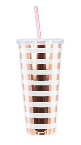 Graphique Rose Gold Stripes Tumbler - Double-Walled Acrylic 22 oz Striped Tumbler, Splash-Resistant Lid & Colorful Straw, BPA/Phthalate/Lead Free, 4