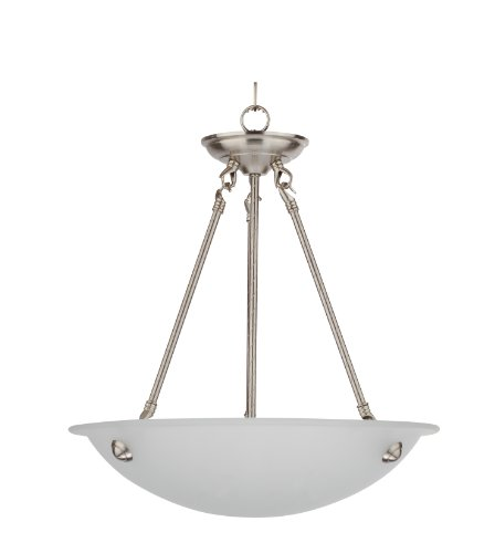 Whitfield CH0055-16AWSS Kirsten 16-Inch Three-Light Bowl Chandelier, Satin Steel with Acid Wash Glass For Sale