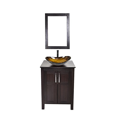 24 Inches Traditional Bathroom Vanity Set in Dark Coffee Finish, Single Bathroom Vanity with Top and 2-Door Cabinet, Oval Tempered Glass Sink Top with Single Faucet Hole