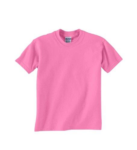 Gildan Youth 5.6 oz 50/50 Short Sleeve T-Shirt in Azalea - Large (14/16)