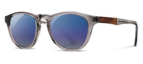 Shwood- Francis Acetate, Sustainability Meets Style, Smoke/Elm Burl, Blue Flash Polarized - Shwoods Sunglasses