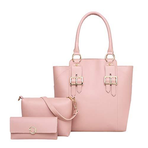 Dexinx Giovani Signore Charming Leather Tote Bags Casual Borsa a tracolla Shiny borsa Set di 3 pezzi Pink