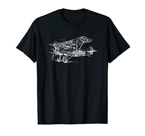 - Vintage WWI Biplane Illustration T shirt for Airplane Pilots