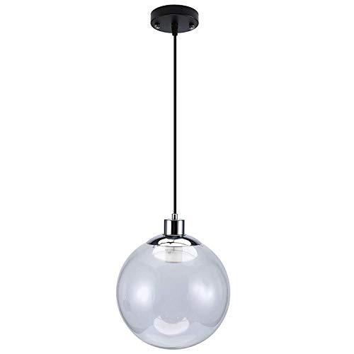 Asvert Industrial Clear Glass Globe Ceiling Lights Black Shade Kitchen Pendant Light E26 for Entertaining Kitchen,Bar,Dinning Room