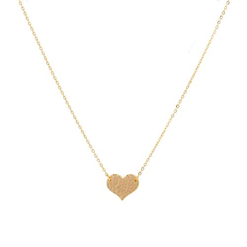 (Mevecco Gold Tiny Heart Choker Necklace Cute Dainty Handmade 18K Gold Plated Heart Shaped Minimalist Clavicle Chain Choker Necklace for Women)