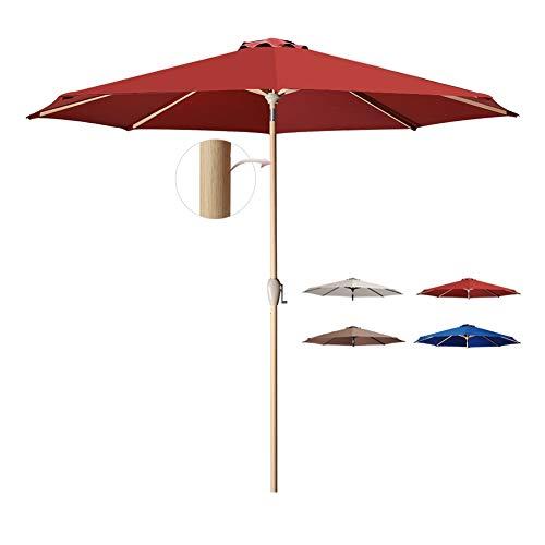 Tempera Patio Umbrella 10 Ft Outdoor Garden Table Umbrella with Crank and Auto-Tilt 8 Ribs in 200G Olefin Chili Canopy (Umbrellas Balcony)