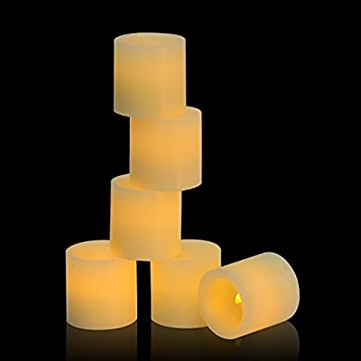 "LED Tea lights,Flameless tea candles with Real Wax 2""×2"", Set of 6 , LED Battery Candles,Flickering Candles for Anniversary , Garden, Wedding, Party, Décor(Ivory,6-pack,without Remote)"