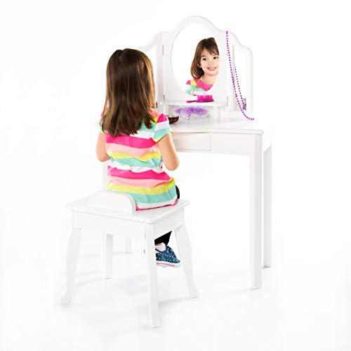 Guidecraft Classic White Vanity and Stool Set: Kids' Wooden Table with 3 Mirrors, Storage Seat and Make-Up Drawer - Children's Furniture (Kid Vanity Set)