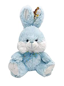 Blue Bunny Fluffy Plush Toy With Lighted Cheeks and Musical Cover Song 'You Are My Sunshine'