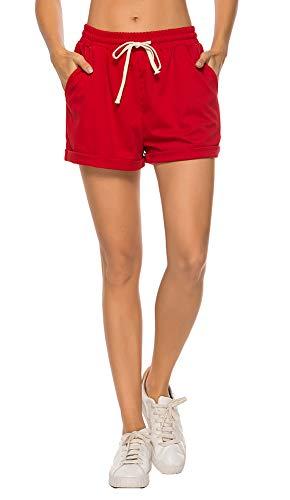 - AvaCostume Women's Plus Size Summer Drawstring Elastic Waist Beach Casual Cotton Shorts Red XL