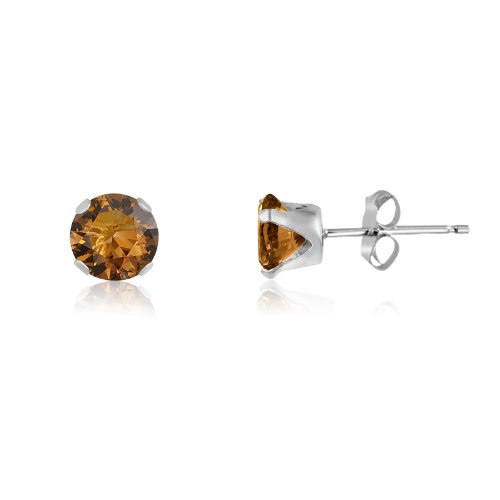 (Round 4mm Sterling Silver Coffee Brown CZ Stud Earrings, Free Gift Box)