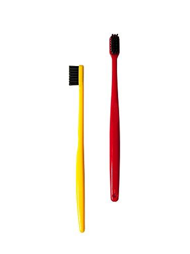 Morihata Binchotan Activated Charcoal Toothbrush, Standard Bristles- Red & Yellow - Set of 2