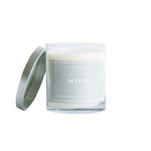 K. Hall Designs Milk 60 hour Jar Candle with Glass and Alumi