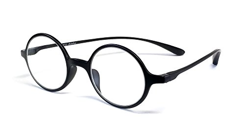 Calabria 721 Flexies Round Reading Glasses in Ebony ; - Harry Potter Glasses Reading
