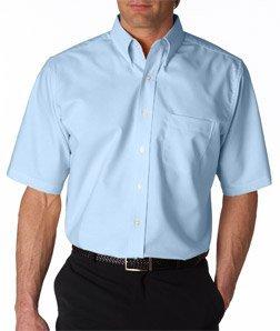 UltraClub Men's Classic Wrinkle-Free Short-Sleeve Oxford(Light Blue) ()